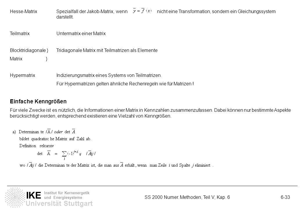 Universität Stuttgart IKE Institut für Kernenergetik und Energiesysteme SS 2000 Numer. Methoden, Teil V, Kap. 6 6-33 Hesse-MatrixSpezialfall der Jakob
