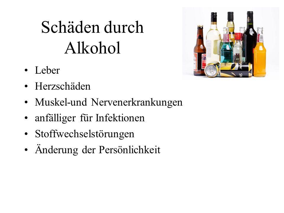 Schäden durch Alkohol Leber Herzschäden Muskel-und Nervenerkrankungen anfälliger für Infektionen Stoffwechselstörungen Änderung der Persönlichkeit