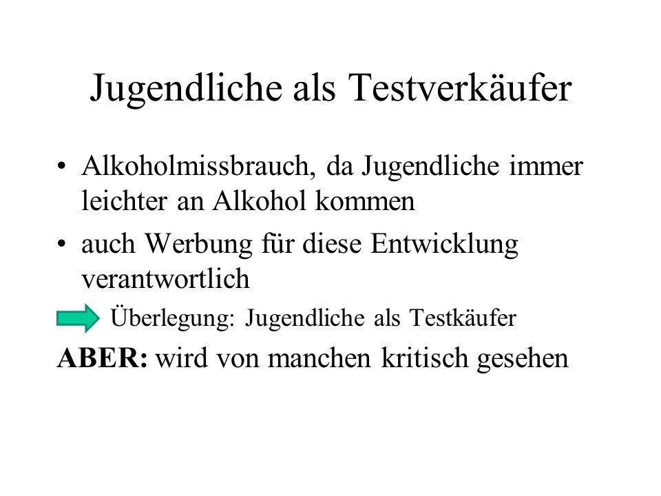 Jugendliche als Testverkäufer Alkoholmissbrauch, da Jugendliche immer leichter an Alkohol kommen auch Werbung für diese Entwicklung verantwortlich Übe