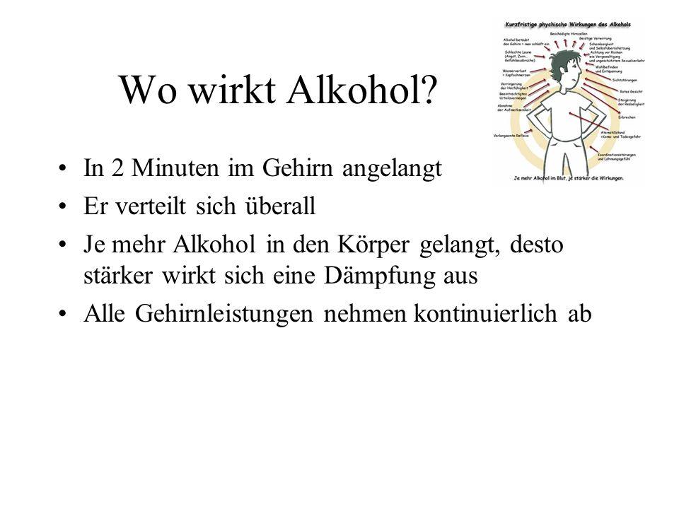 Wo wirkt Alkohol? In 2 Minuten im Gehirn angelangt Er verteilt sich überall Je mehr Alkohol in den Körper gelangt, desto stärker wirkt sich eine Dämpf