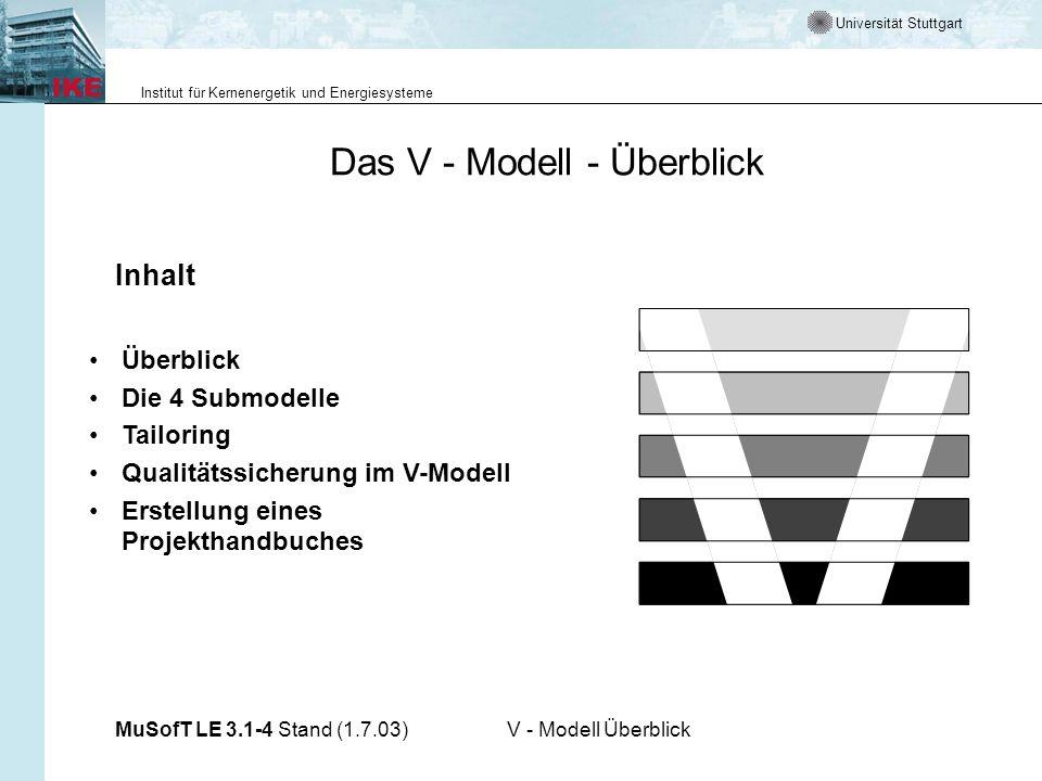Universität Stuttgart Institut für Kernenergetik und Energiesysteme MuSofT LE 3.1-4 Stand (1.7.03)V - Modell Überblick Übersicht Das V-Modell ist der Entwicklungsstandard für IT-Systeme des Bundes.