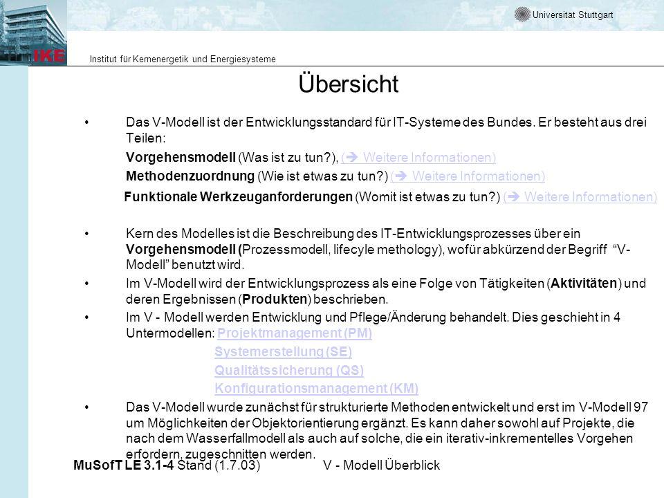 Universität Stuttgart Institut für Kernenergetik und Energiesysteme MuSofT LE 3.1-4 Stand (1.7.03)V - Modell Überblick Das sollten Sie heute lernen Das V-Modell und seine Elemente Untermodelle des V-Modelles Projektmanagement Systemerstellung Qualitätssicherung Konfigurationsmanagement Einbindung von Prozessmodellen für Softwareentwicklung in das V-Modell Tailoring