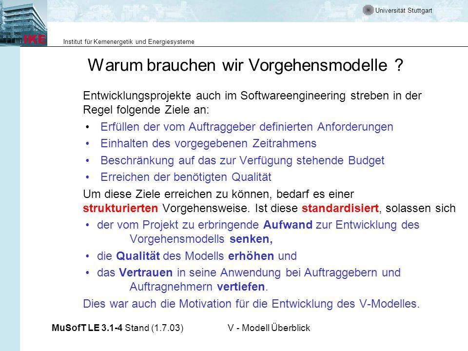 Universität Stuttgart Institut für Kernenergetik und Energiesysteme MuSofT LE 3.1-4 Stand (1.7.03)V - Modell Überblick Warum brauchen wir Vorgehensmod