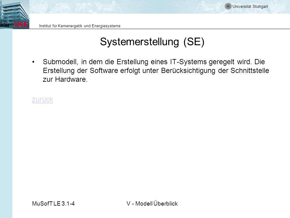 Universität Stuttgart Institut für Kernenergetik und Energiesysteme MuSofT LE 3.1-4V - Modell Überblick Systemerstellung (SE) Submodell, in dem die Erstellung eines IT-Systems geregelt wird.