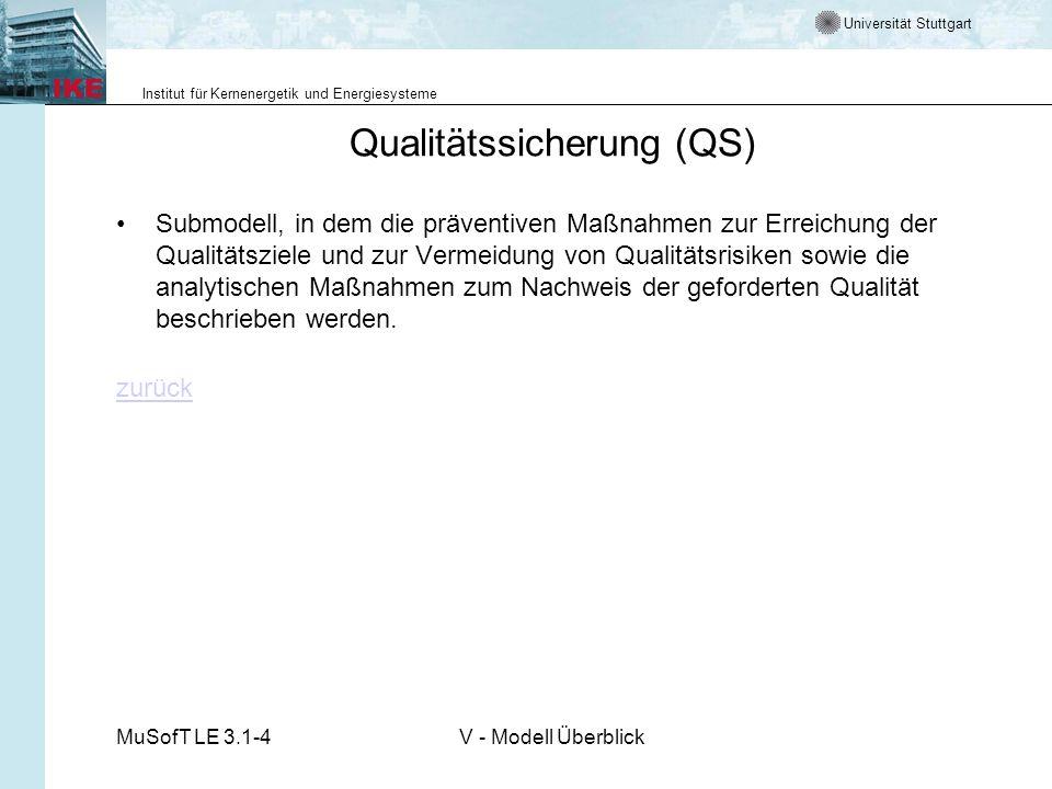 Universität Stuttgart Institut für Kernenergetik und Energiesysteme MuSofT LE 3.1-4V - Modell Überblick Qualitätssicherung (QS) Submodell, in dem die präventiven Maßnahmen zur Erreichung der Qualitätsziele und zur Vermeidung von Qualitätsrisiken sowie die analytischen Maßnahmen zum Nachweis der geforderten Qualität beschrieben werden.
