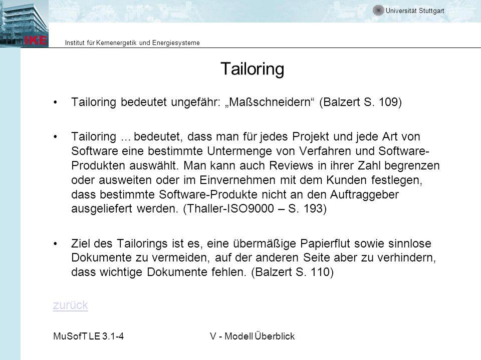 Universität Stuttgart Institut für Kernenergetik und Energiesysteme MuSofT LE 3.1-4V - Modell Überblick Tailoring Tailoring bedeutet ungefähr: Maßschneidern (Balzert S.