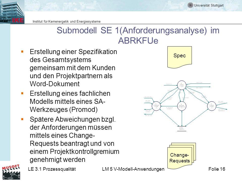 Universität Stuttgart Institut für Kernenergetik und Energiesysteme LE 3.1 ProzessqualitätLM 5 V-Modell-AnwendungenFolie 16 Submodell SE 1(Anforderung