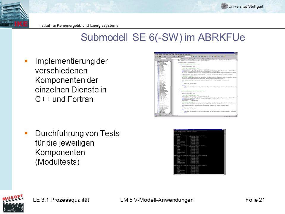 Universität Stuttgart Institut für Kernenergetik und Energiesysteme LE 3.1 ProzessqualitätLM 5 V-Modell-AnwendungenFolie 21 Submodell SE 6(-SW) im ABR