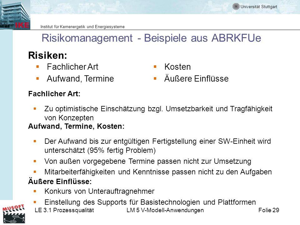 Universität Stuttgart Institut für Kernenergetik und Energiesysteme LE 3.1 ProzessqualitätLM 5 V-Modell-AnwendungenFolie 29 Risikomanagement - Beispie