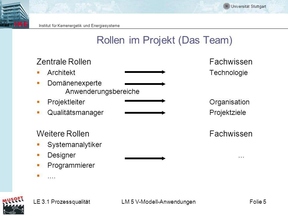 Universität Stuttgart Institut für Kernenergetik und Energiesysteme LE 3.1 ProzessqualitätLM 5 V-Modell-AnwendungenFolie 5 Rollen im Projekt (Das Team