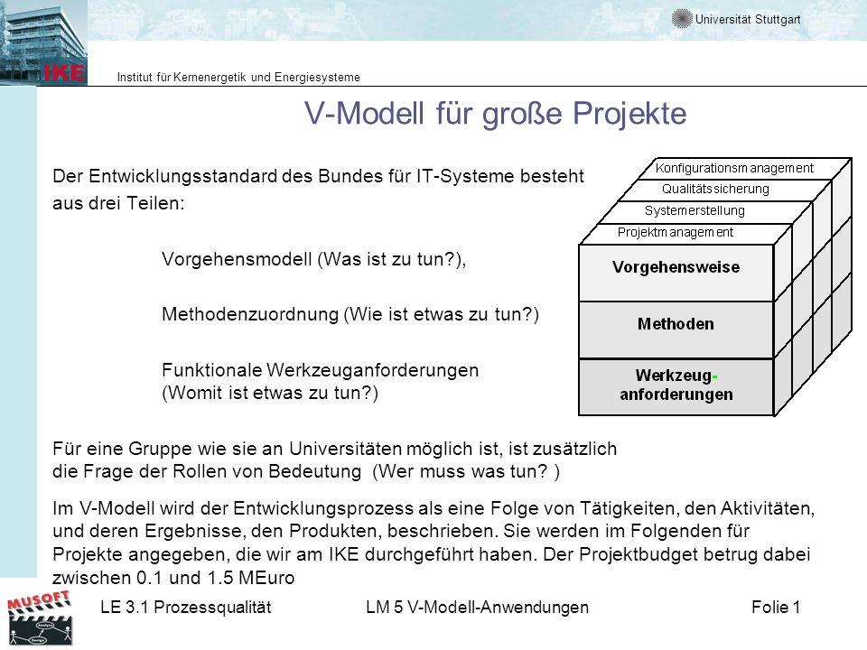 Universität Stuttgart Institut für Kernenergetik und Energiesysteme LE 3.1 ProzessqualitätLM 5 V-Modell-AnwendungenFolie 1 V-Modell für große Projekte