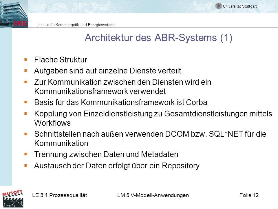 Universität Stuttgart Institut für Kernenergetik und Energiesysteme LE 3.1 ProzessqualitätLM 5 V-Modell-AnwendungenFolie 12 Architektur des ABR-System