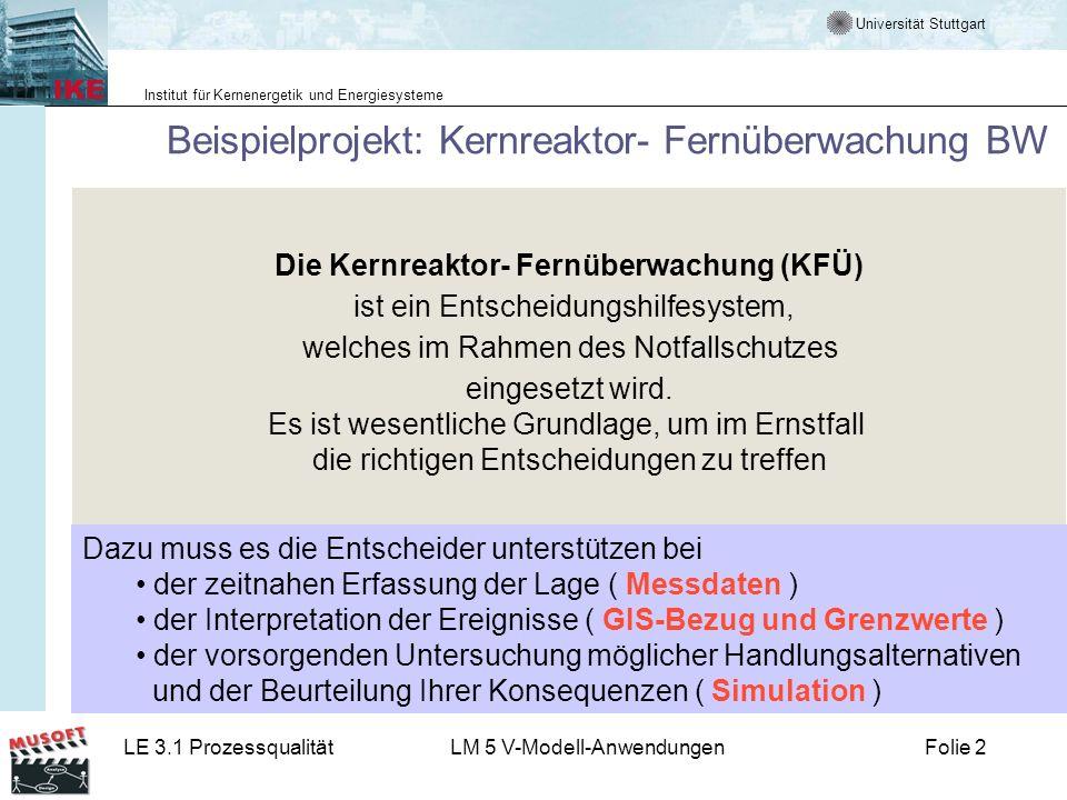 Universität Stuttgart Institut für Kernenergetik und Energiesysteme LE 3.1 ProzessqualitätLM 5 V-Modell-AnwendungenFolie 2 Die Kernreaktor- Fernüberwa