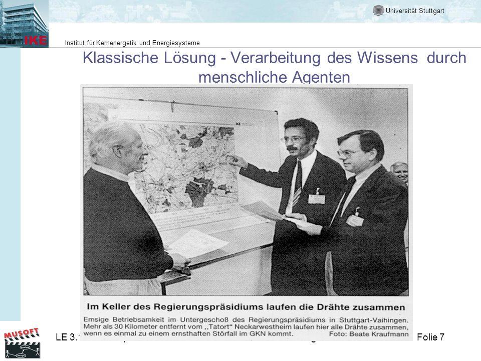 Universität Stuttgart Institut für Kernenergetik und Energiesysteme LE 3.1 ProzessqualitätLM 5 V-Modell-AnwendungenFolie 7 Klassische Lösung - Verarbe