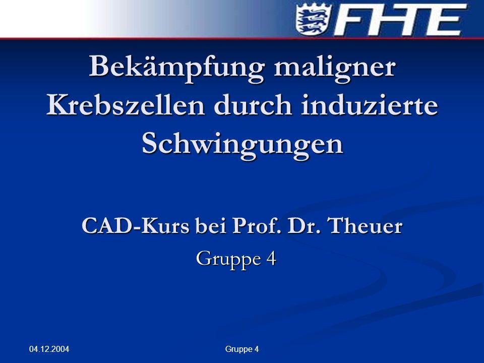 04.12.2004 Gruppe 4 Bekämpfung maligner Krebszellen durch induzierte Schwingungen CAD-Kurs bei Prof. Dr. Theuer Gruppe 4