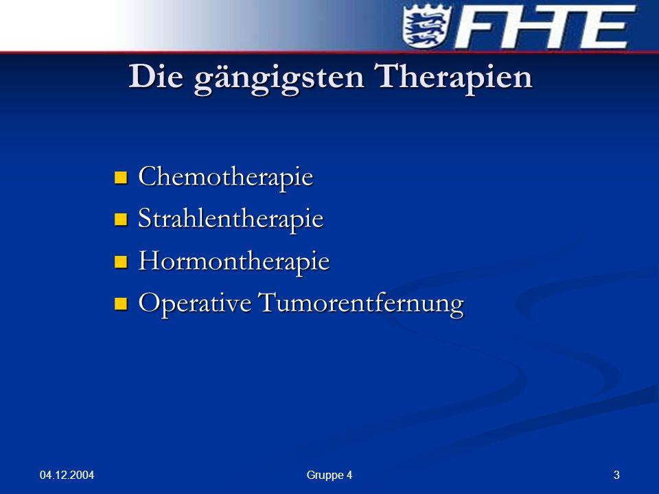 04.12.2004 4Gruppe 4 Stand der Forschung Ansätze, um Krebszellen zu töten: Tiefenhypothermie (Licht- und Wärmetherapie) Tiefenhypothermie (Licht- und Wärmetherapie) Gentherapie Gentherapie Immuntherapie (Aktivierung der körpereigenen Abwehrreaktionen) Immuntherapie (Aktivierung der körpereigenen Abwehrreaktionen) Chemotherapie mit Hilfe von Cannabinoide Chemotherapie mit Hilfe von Cannabinoide Blutversorgung des Tumors abschnüren Blutversorgung des Tumors abschnüren