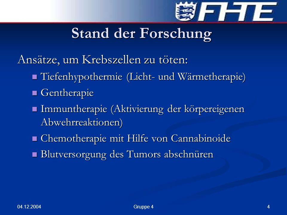 04.12.2004 4Gruppe 4 Stand der Forschung Ansätze, um Krebszellen zu töten: Tiefenhypothermie (Licht- und Wärmetherapie) Tiefenhypothermie (Licht- und