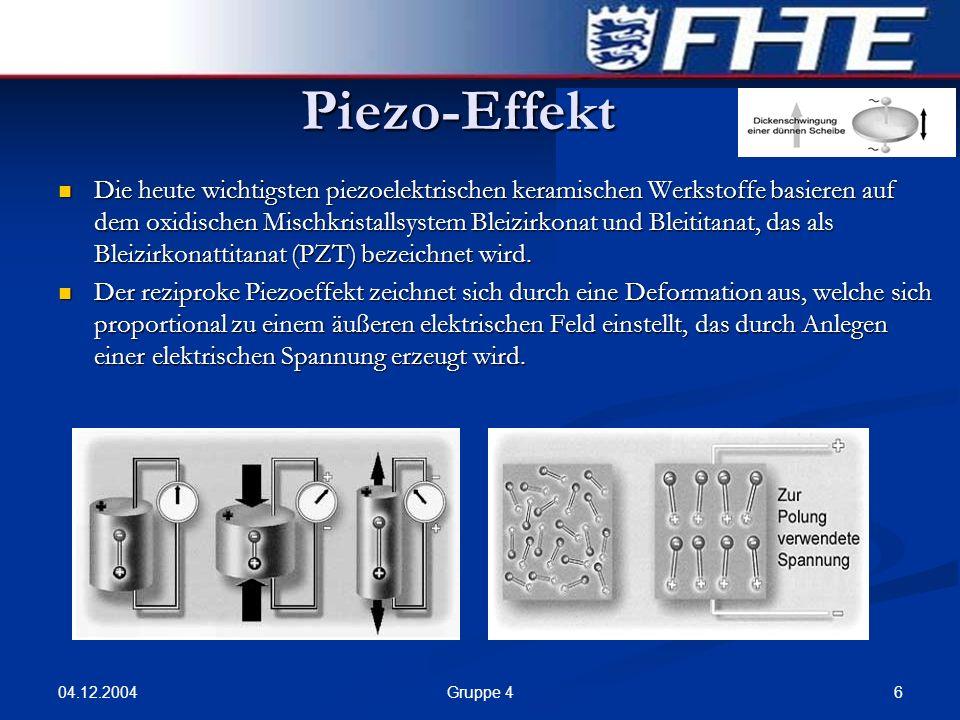 04.12.2004 6Gruppe 4 Piezo-Effekt Die heute wichtigsten piezoelektrischen keramischen Werkstoffe basieren auf dem oxidischen Mischkristallsystem Bleiz