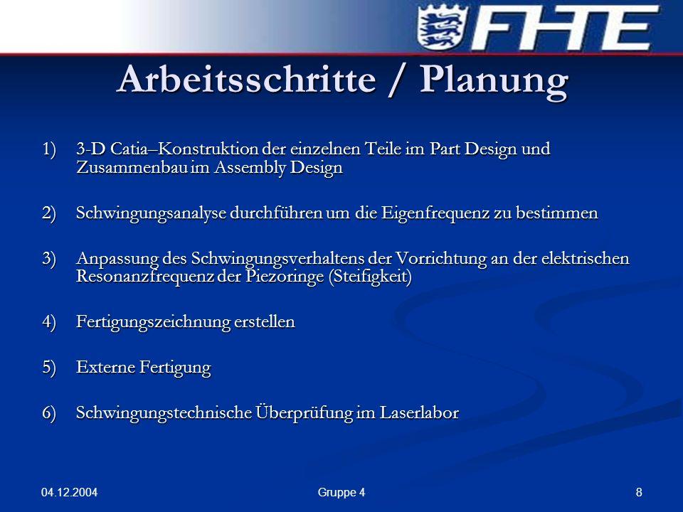 04.12.2004 8Gruppe 4 Arbeitsschritte / Planung 1)3-D Catia–Konstruktion der einzelnen Teile im Part Design und Zusammenbau im Assembly Design 2)Schwin