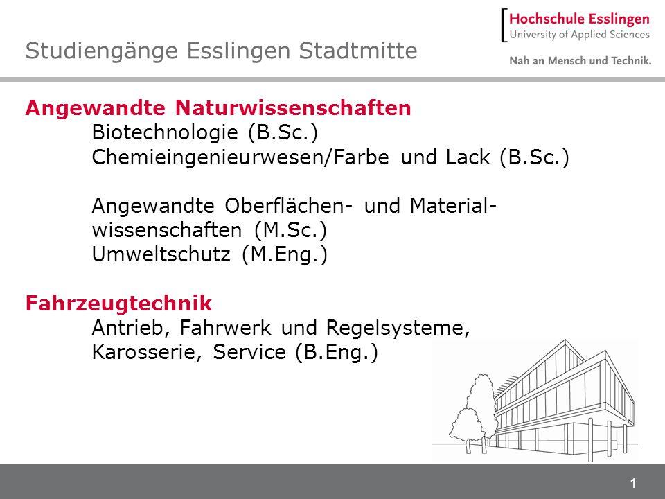 1 Angewandte Naturwissenschaften Biotechnologie (B.Sc.) Chemieingenieurwesen/Farbe und Lack (B.Sc.) Angewandte Oberflächen- und Material- wissenschaft
