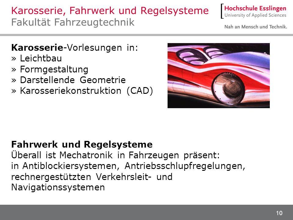 10 Karosserie-Vorlesungen in: » Leichtbau » Formgestaltung » Darstellende Geometrie » Karosseriekonstruktion (CAD) Fahrwerk und Regelsysteme Überall i