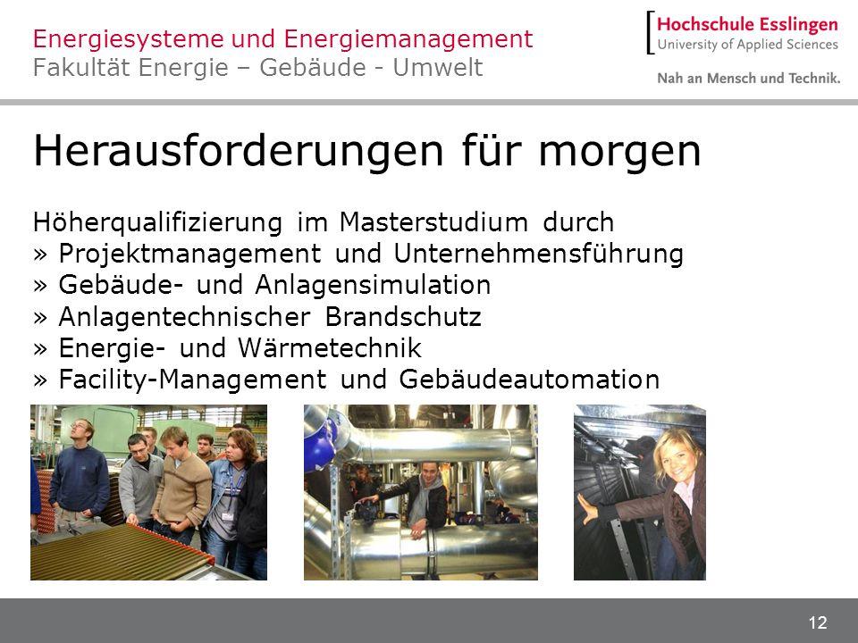 12 Herausforderungen für morgen Höherqualifizierung im Masterstudium durch » Projektmanagement und Unternehmensführung » Gebäude- und Anlagensimulatio