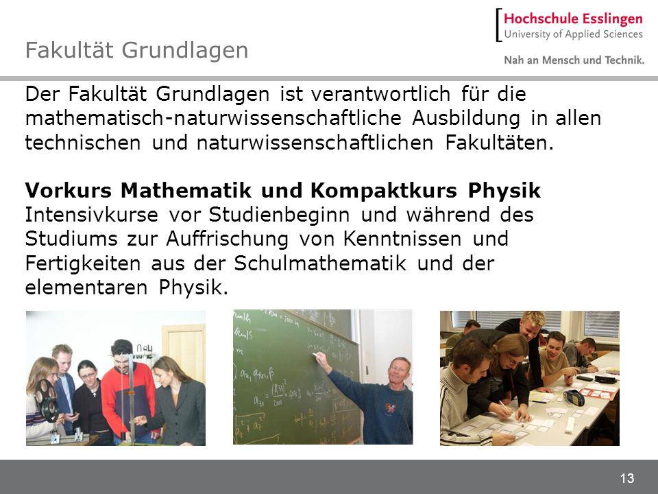 13 Der Fakultät Grundlagen ist verantwortlich für die mathematisch-naturwissenschaftliche Ausbildung in allen technischen und naturwissenschaftlichen