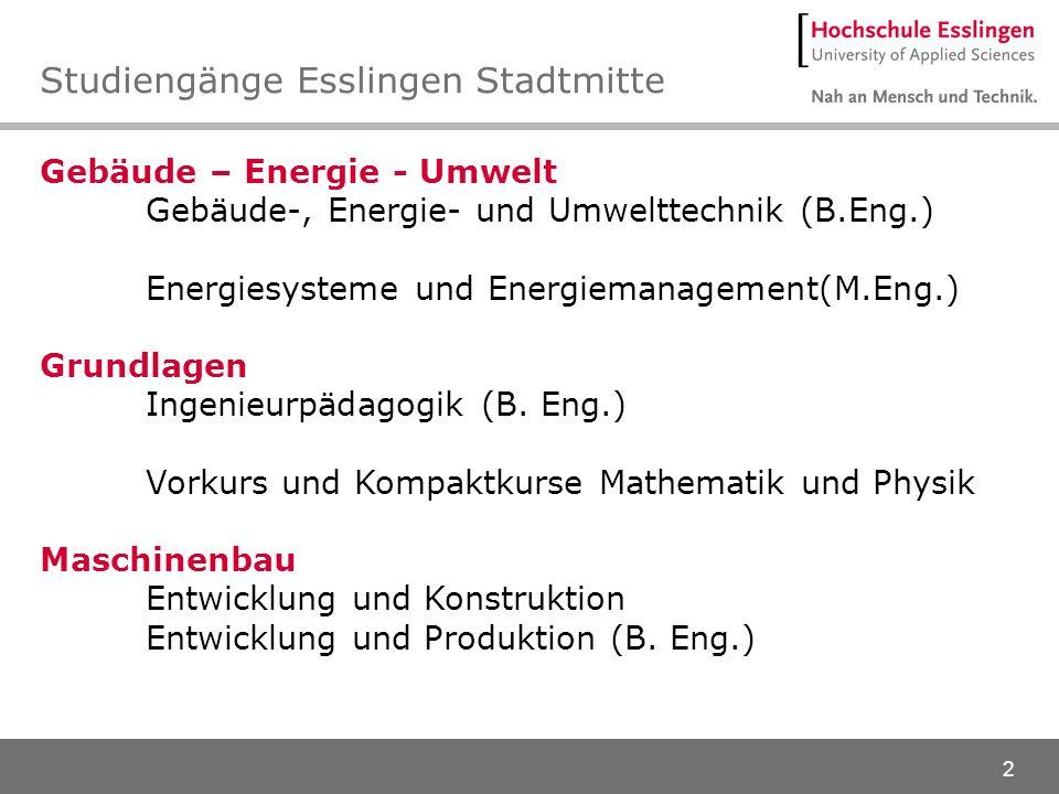 2 Gebäude – Energie - Umwelt Gebäude-, Energie- und Umwelttechnik (B.Eng.) Energiesysteme und Energiemanagement(M.Eng.) Grundlagen Ingenieurpädagogik