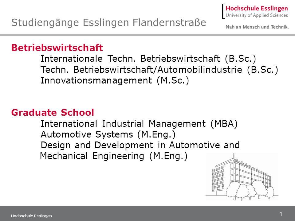 1 Hochschule Esslingen Betriebswirtschaft Internationale Techn. Betriebswirtschaft (B.Sc.) Techn. Betriebswirtschaft/Automobilindustrie (B.Sc.) Innova
