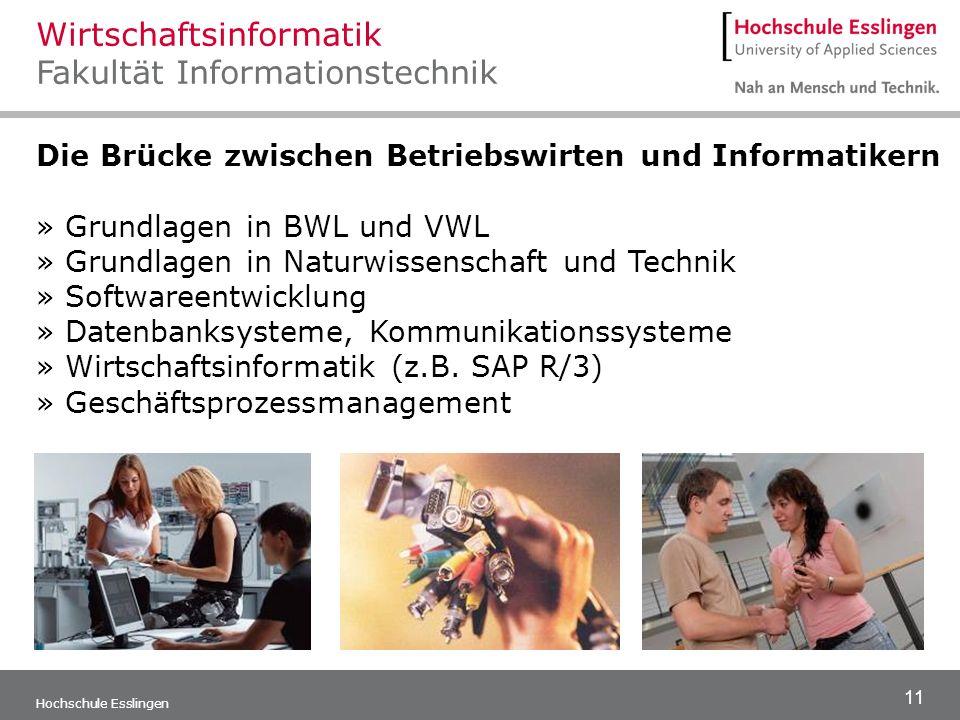 11 Hochschule Esslingen Die Brücke zwischen Betriebswirten und Informatikern » Grundlagen in BWL und VWL » Grundlagen in Naturwissenschaft und Technik