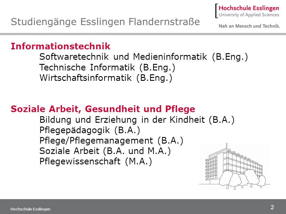 13 Hochschule Esslingen Mit zwei Studienschwerpunkten: » Bildung und Entwicklung von Kindern » Bildungsmanagement für Leitungs- und Führungs- aufgaben Der Studiengang fördert die Bildung, Erziehung und Betreuung von Kindern in Institutionen.