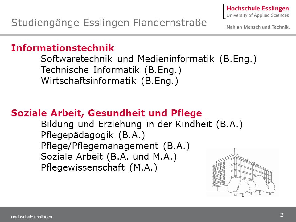2 Hochschule Esslingen Informationstechnik Softwaretechnik und Medieninformatik (B.Eng.) Technische Informatik (B.Eng.) Wirtschaftsinformatik (B.Eng.)
