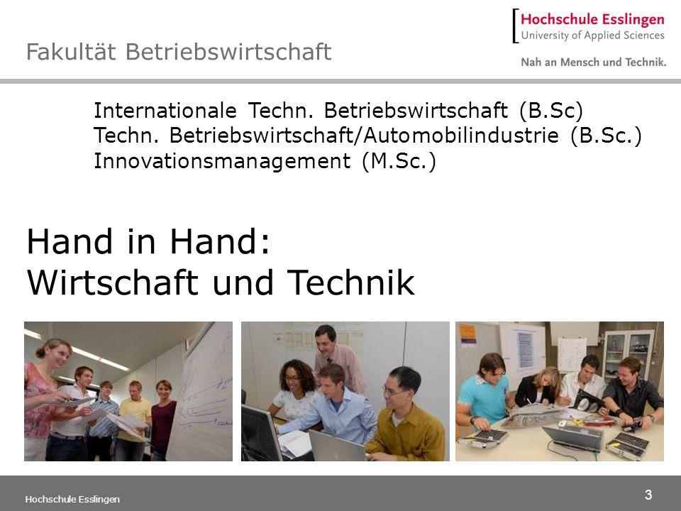 4 Hochschule Esslingen Die Kombination von wirtschaftswissenschaftlichen sowie techni- schen Fächern, Methoden-Know-how und Sprachkompetenz qualifi- zieren für Aufgaben an technisch-kaufmännischen Schnittstellen im internationalen Umfeld.