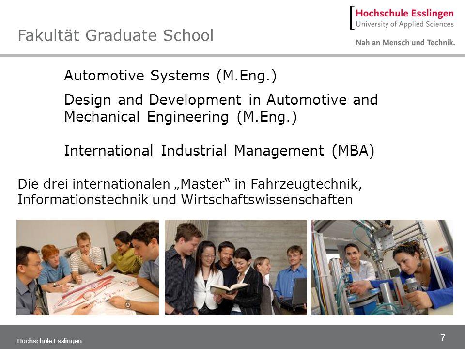 8 Hochschule Esslingen Softwaretechnik und Medieninformatik Technische Informatik Wirtschaftsinformatik Die Herausforderung: Technische Systeme in Software Fakultät Informationstechnik