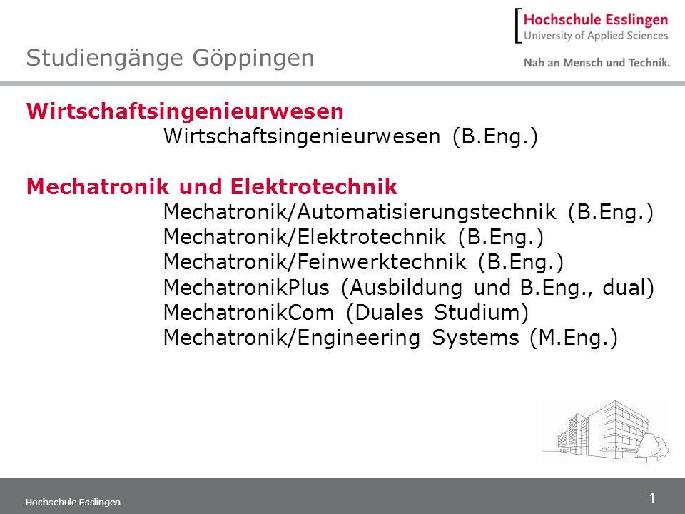 1 Hochschule Esslingen Wirtschaftsingenieurwesen Wirtschaftsingenieurwesen (B.Eng.) Mechatronik und Elektrotechnik Mechatronik/Automatisierungstechnik