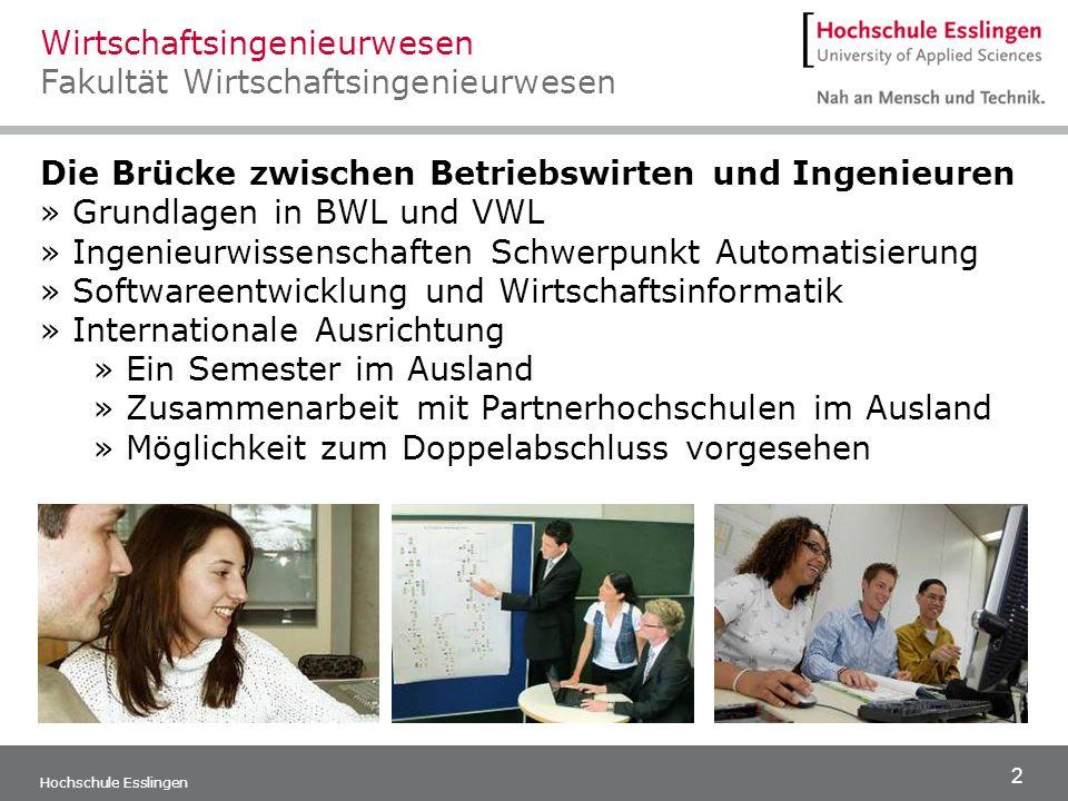 2 Hochschule Esslingen Die Brücke zwischen Betriebswirten und Ingenieuren » Grundlagen in BWL und VWL » Ingenieurwissenschaften Schwerpunkt Automatisi