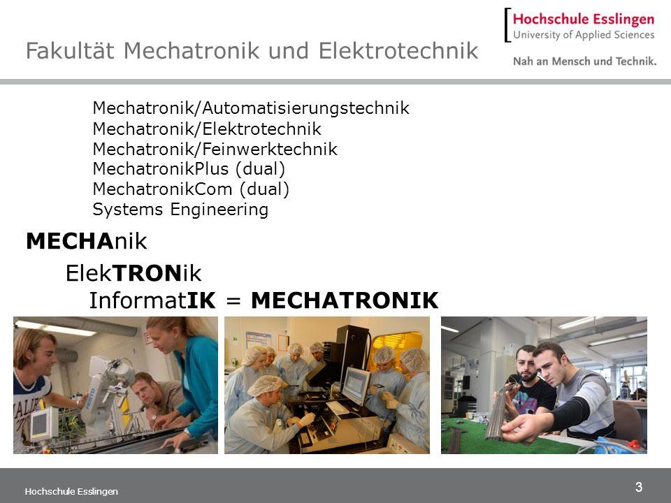 3 Hochschule Esslingen Mechatronik/Automatisierungstechnik Mechatronik/Elektrotechnik Mechatronik/Feinwerktechnik MechatronikPlus (dual) MechatronikCo