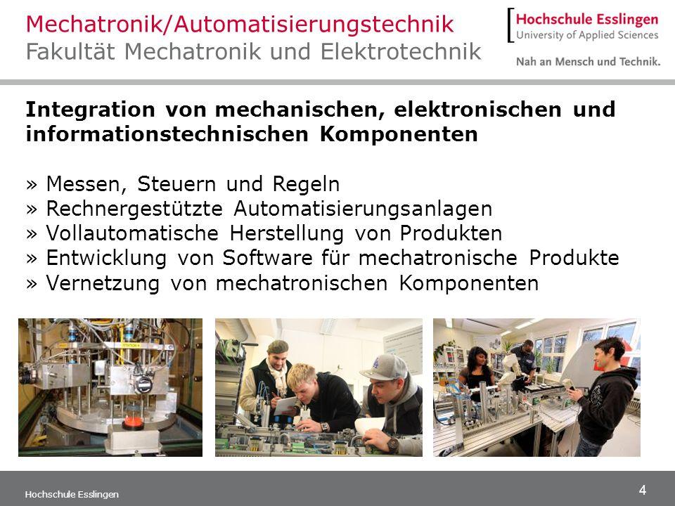4 Hochschule Esslingen Integration von mechanischen, elektronischen und informationstechnischen Komponenten » Messen, Steuern und Regeln » Rechnergest