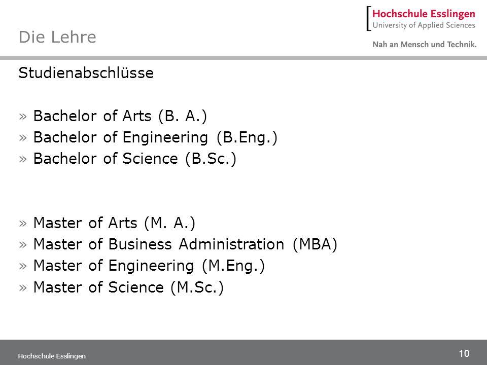 10 Hochschule Esslingen Die Lehre Studienabschlüsse »Bachelor of Arts (B. A.) »Bachelor of Engineering (B.Eng.) »Bachelor of Science (B.Sc.) »Master o