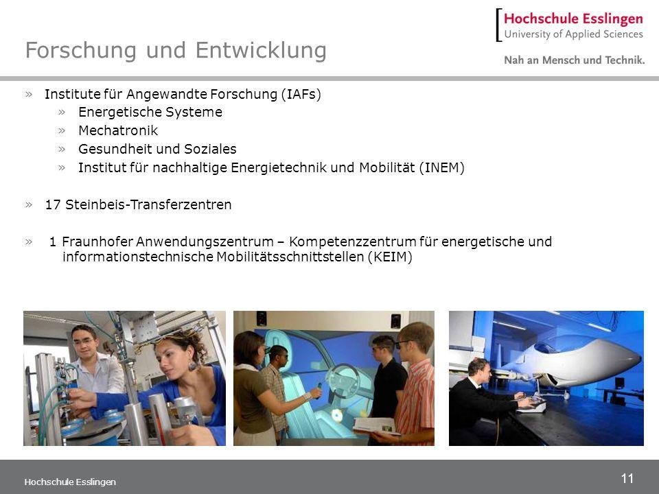 11 Hochschule Esslingen Forschung und Entwicklung »Institute für Angewandte Forschung (IAFs) »Energetische Systeme »Mechatronik »Gesundheit und Sozial
