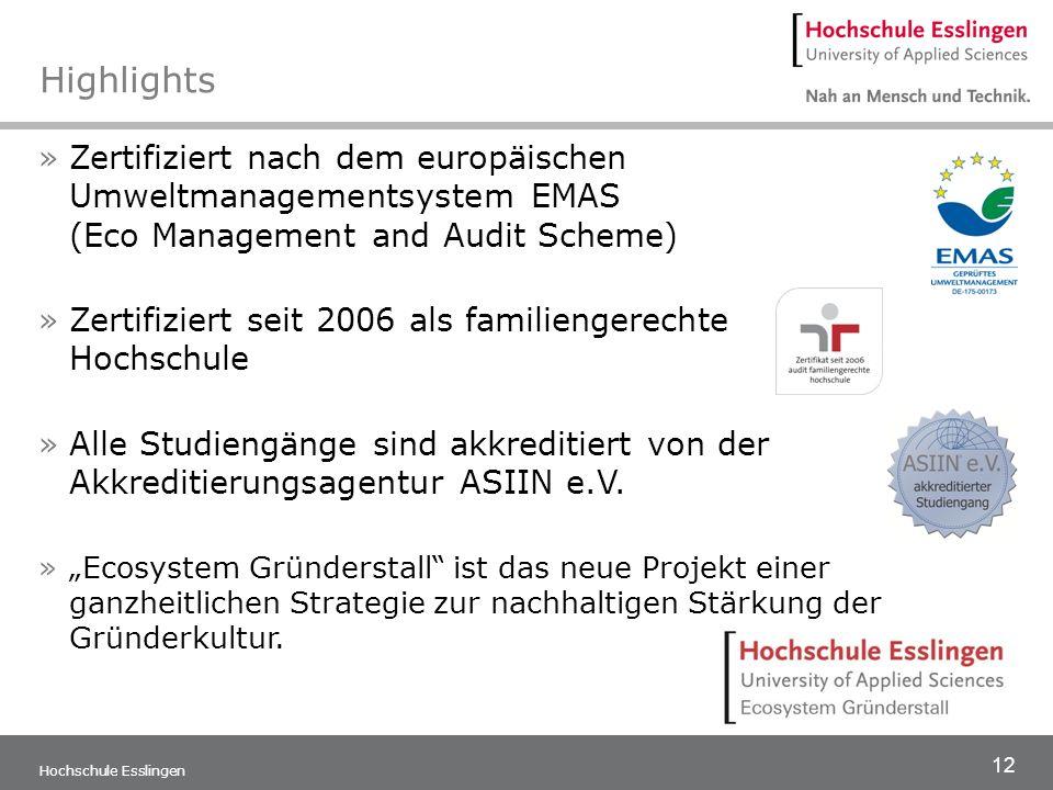 12 Hochschule Esslingen Highlights »Zertifiziert nach dem europäischen Umweltmanagementsystem EMAS (Eco Management and Audit Scheme) »Zertifiziert sei