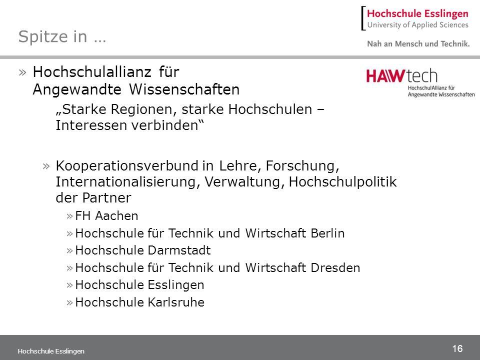 16 Hochschule Esslingen Spitze in … »Hochschulallianz für Angewandte Wissenschaften Starke Regionen, starke Hochschulen – Interessen verbinden »Kooper