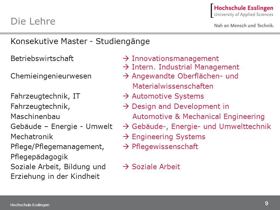 9 Hochschule Esslingen Konsekutive Master - Studiengänge Betriebswirtschaft Innovationsmanagement Intern. Industrial Management Chemieingenieurwesen A