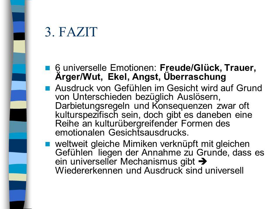 3. FAZIT 6 universelle Emotionen: Freude/Glück, Trauer, Ärger/Wut, Ekel, Angst, Überraschung Ausdruck von Gefühlen im Gesicht wird auf Grund von Unter