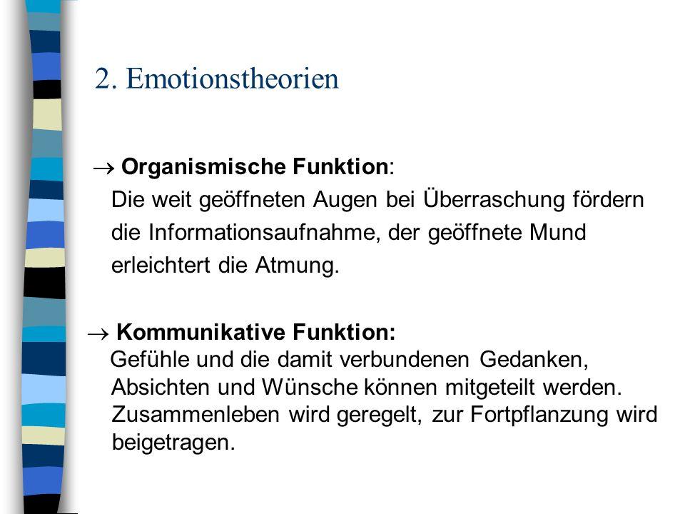 2. Emotionstheorien Organismische Funktion: Die weit geöffneten Augen bei Überraschung fördern die Informationsaufnahme, der geöffnete Mund erleichter