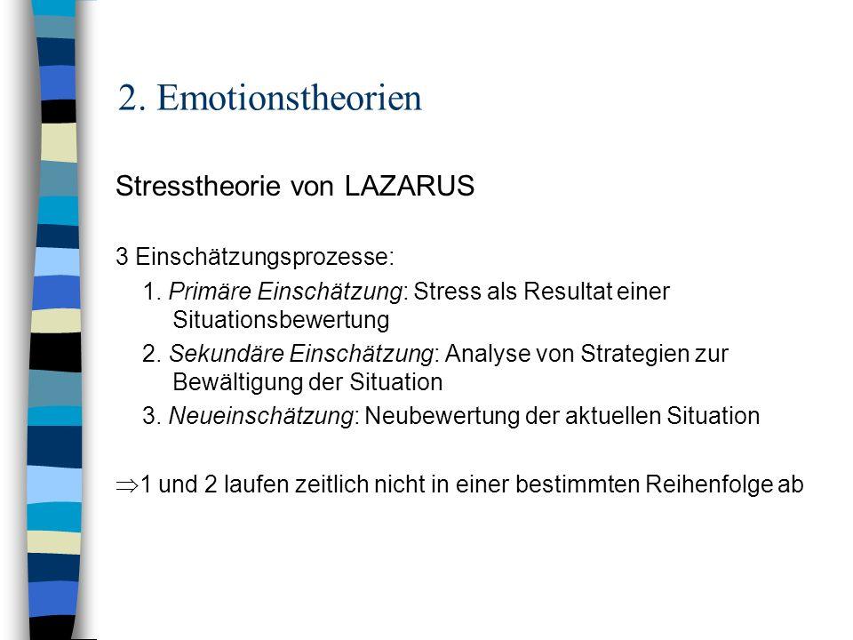 2. Emotionstheorien Stresstheorie von LAZARUS 3 Einschätzungsprozesse: 1. Primäre Einschätzung: Stress als Resultat einer Situationsbewertung 2. Sekun