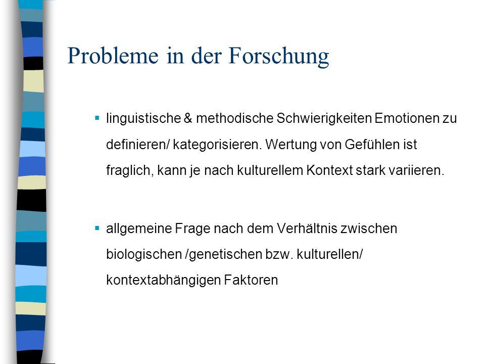 Probleme in der Forschung linguistische & methodische Schwierigkeiten Emotionen zu definieren/ kategorisieren. Wertung von Gefühlen ist fraglich, kann