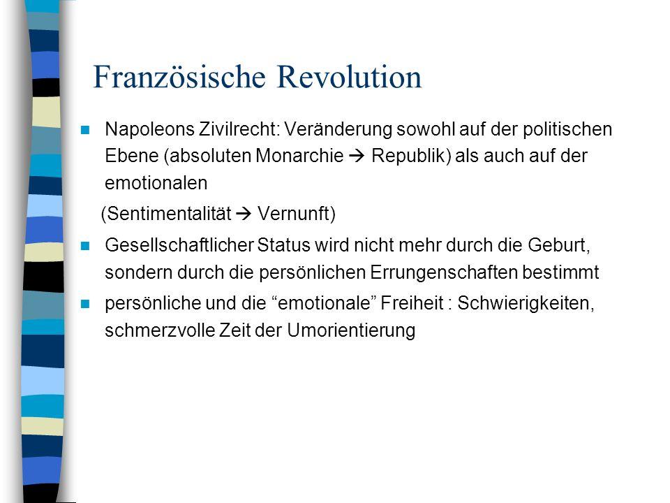 Französische Revolution Napoleons Zivilrecht: Veränderung sowohl auf der politischen Ebene (absoluten Monarchie Republik) als auch auf der emotionalen