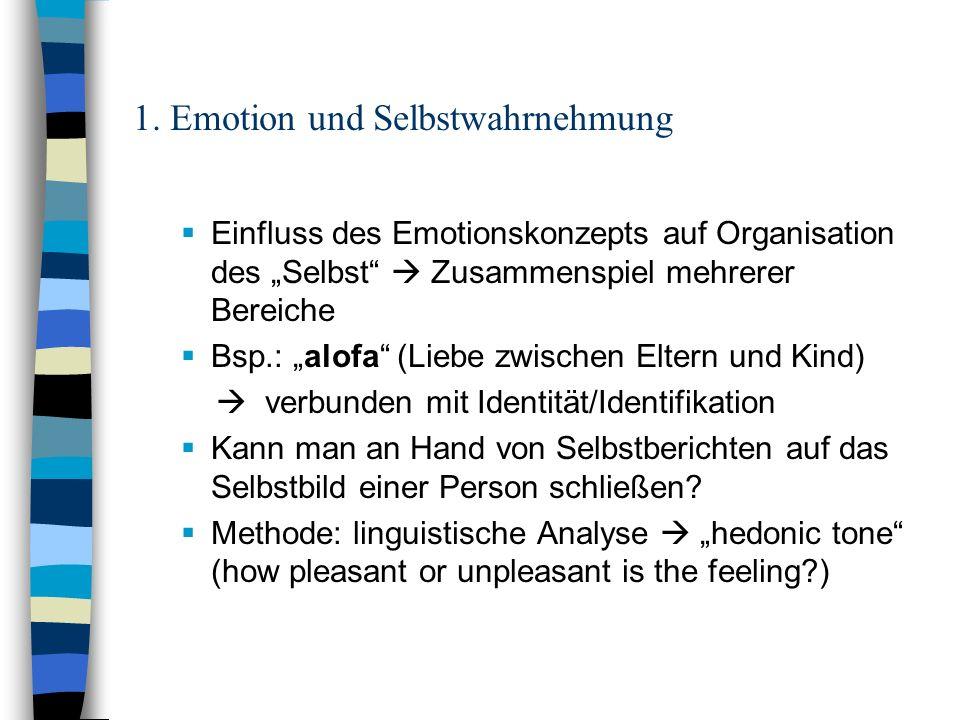 1. Emotion und Selbstwahrnehmung Einfluss des Emotionskonzepts auf Organisation des Selbst Zusammenspiel mehrerer Bereiche Bsp.: alofa (Liebe zwischen