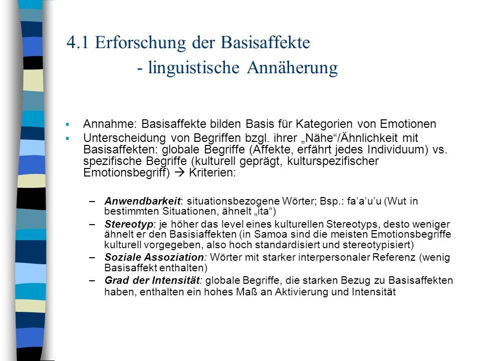 4.1 Erforschung der Basisaffekte - linguistische Annäherung Annahme: Basisaffekte bilden Basis für Kategorien von Emotionen Unterscheidung von Begriff